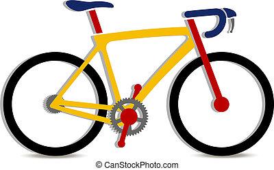 fiets, illustratie, kleurrijke