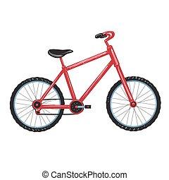 fiets, illustratie, rood