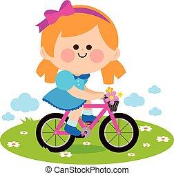 fiets, illustratie, vector, paardrijden, meisje, park.