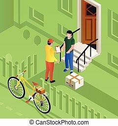 fiets, isometric, concept, brievenbesteller, stijl, aflevering, achtergrond, pakket