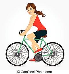 fiets, jonge, paardrijden, meisje, vriendelijk, vrolijke