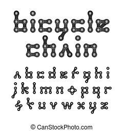 fiets ketting, alfabet