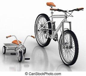 fiets, kinderen, tegen, sportende