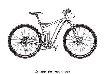 fiets, land, kruis, vector, gegraveerde, bergafwaarts