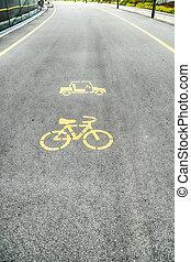 fiets, lens, laan, fiets, meldingsbord, of, pictogram, en, beweging, van, fietser, in het park