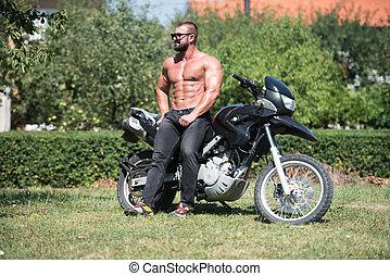 fiets, man, fietser, zit