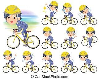 fiets, mannen, rijden, perm, haar, streep, kostuum