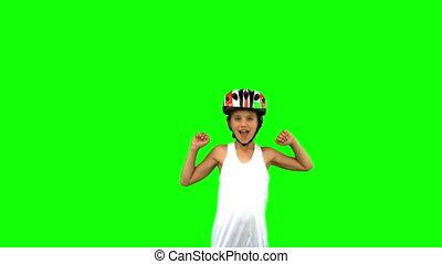 fiets, meisje, helm, schattig, vervelend