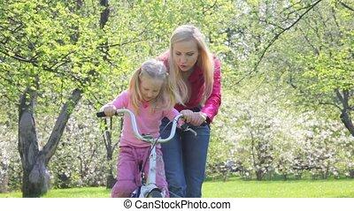 fiets, meisje, ma, rol, onderwijst