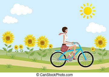 fiets, meisje, op, zonnebloemen