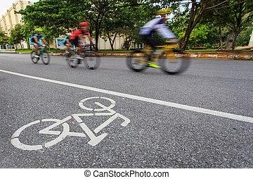 fiets, meldingsbord, of, pictogram, en, beweging, van, fietser, in het park