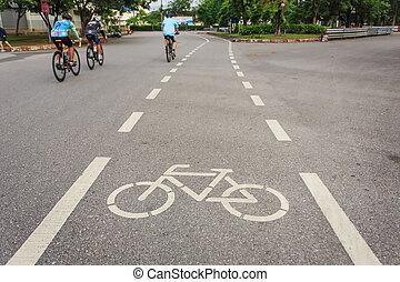 fiets, meldingsbord, of, pictogram, en, beweging, van,...