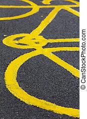 fiets, meldingsbord, op het terrein