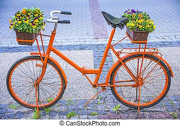 fiets, met, bloemen
