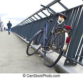 fiets, op, brug