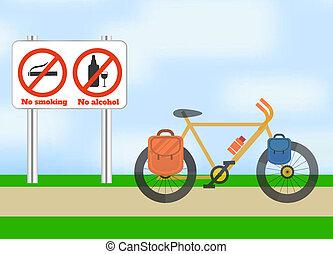 fiets, op, road., fiets, toerisme, sport.
