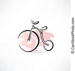 fiets, oud, grunge, pictogram
