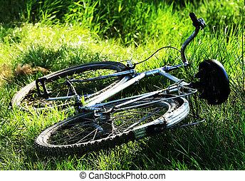 fiets, ouderwetse , oud, gras