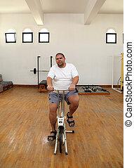 fiets, overgewicht man, simulator
