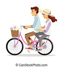 fiets, paar, karakter, gezin