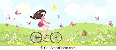 fiets, panorama, floral, paardrijden, meisje, vrolijke