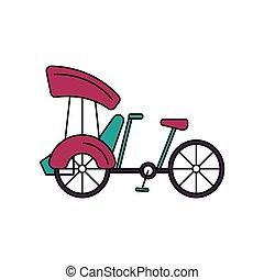 fiets, pictogram, spotprent, stijl