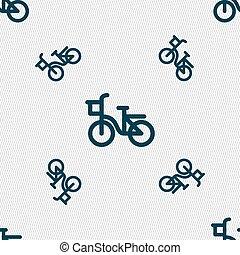 fiets, pictogram, teken., seamless, model, met, geometrisch, texture., vector