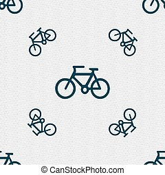 fiets, pictogram, teken., seamless, model, met, geometrisch, texture., vector