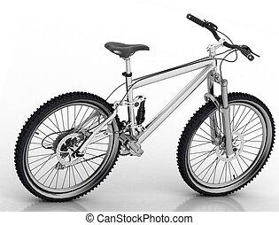 fiets, reflectie, vrijstaand, achtergrond, witte