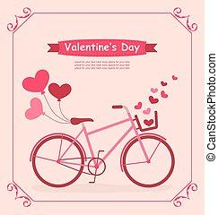 fiets, romantische, jarig, hartjes, ballons, kaart