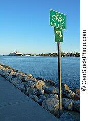 fiets, route, meldingsbord