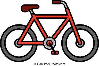 fiets, schets, kleurrijke, spotprent, tekening, rood