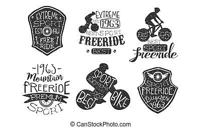 fiets, set, etiketten, illustratie, hand, freeride, vector, retro, getrokken, monochroom, sportende, kentekens, extreem