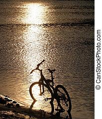 fiets, silhouette, rivier