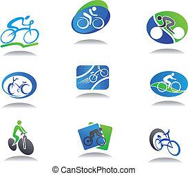 fiets, sportende, iconen
