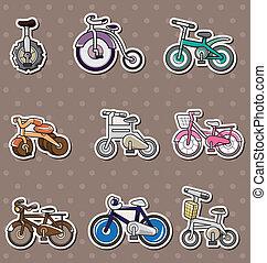 fiets, spotprent, stickers