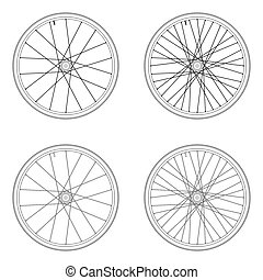 fiets sprak, wiel, tangential, lacing, model, 4x, zwart wit, kleur, vrijstaand, op wit, achtergrond