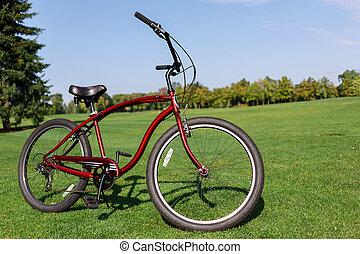 fiets, staand, op het gras