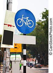 fiets steeg, meldingsbord, het indiceren, fietsroute, blauwe , kant van de weg, verkeer, s