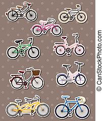 fiets, stickers, spotprent
