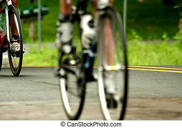 fiets, straat, hardloop