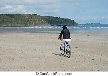 fiets, strand, passagier