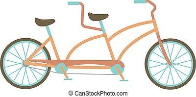 fiets, tandem, vector, illustration.