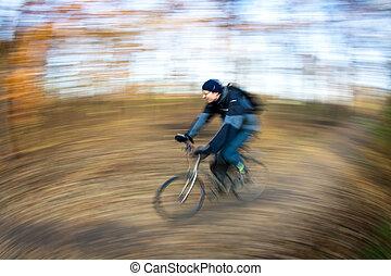 fiets te rijden, in, een, stad park, op, een, mooi en gracieus, autumn/fall, dag