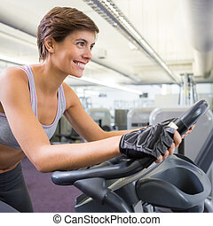 fiets, uit, passen, oefening, werkende , glimlachende vrouw