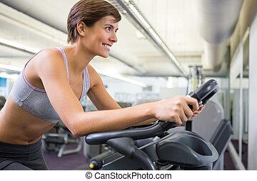 fiets, uit, passen, oefening, werkende vrouw