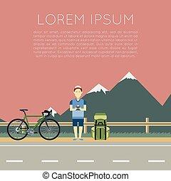 fiets, uitstapjes, spandoek