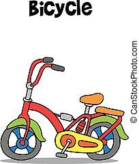 fiets, vector, kunst, spotprent, illustratie