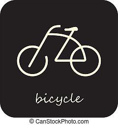 fiets, -, vector, pictogram