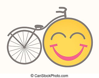 fiets, vector, -, spotprent, smiley